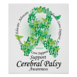 Cerebral Palsy Ribbon of Butterflies Posters