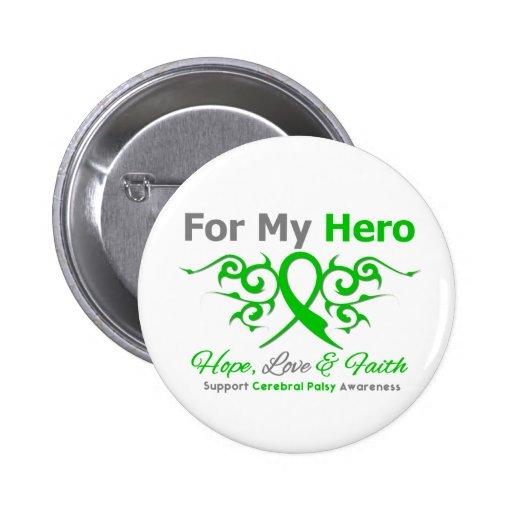 Cerebral Palsy Tribal Ribbon Hero Pinback Buttons