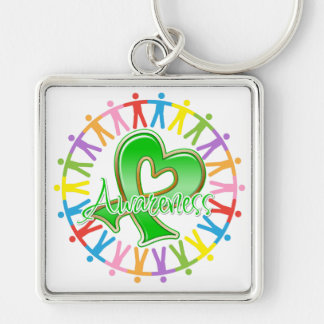 Cerebral Palsy Unite in Awareness Silver-Colored Square Keychain