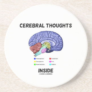 Cerebral Thoughts Inside Brainy Anatomical Humor Drink Coaster