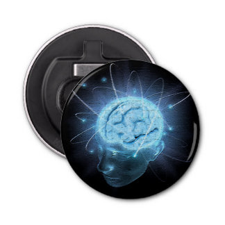 Cerebro atómico abrebotellas redondo