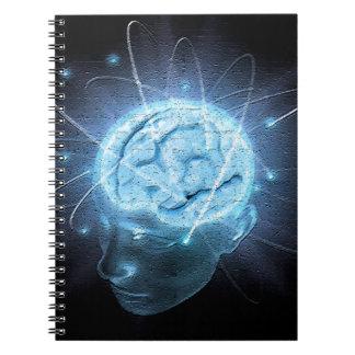 Cerebro atómico libros de apuntes con espiral