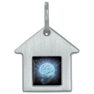 Cerebro atómico placas de nombre de mascota