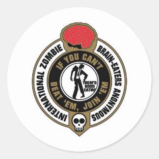 Cerebro-Comedores internacionales del zombi Pegatina Redonda