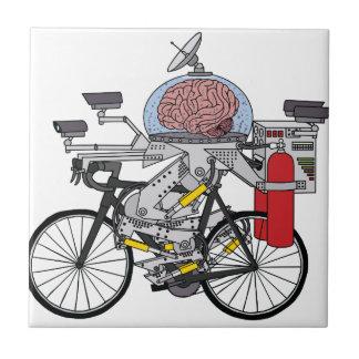 Cerebro de la bici (ciclista del año 3000) azulejo cuadrado pequeño
