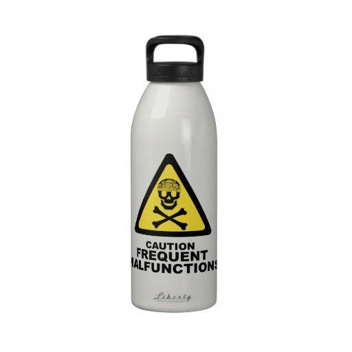 Cerebro de la precaución botellas de agua reutilizables