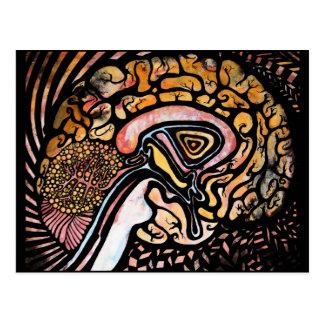 Cerebro de la tinta tarjeta postal
