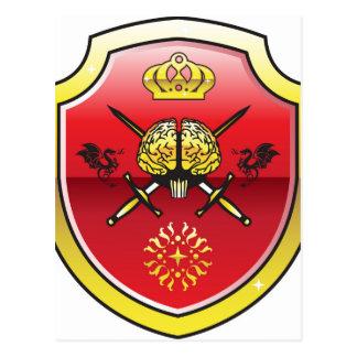 Cerebro de oro. Escudo con las espadas. Mente real Postales