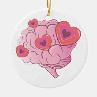 Cerebro del amor adorno navideño redondo de cerámica