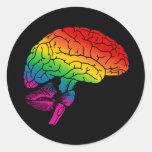 Cerebro del arco iris pegatina redonda