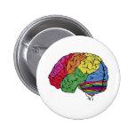 Cerebro del arco iris pin redondo de 2 pulgadas