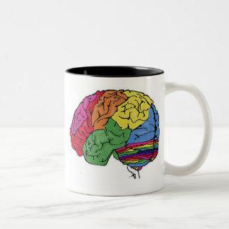 Cerebro del arco iris taza de dos tonos