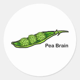 Cerebro del guisante pegatina redonda