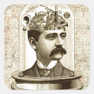 Cerebro del mecanismo del steampunk del vintage, pegatina cuadrada