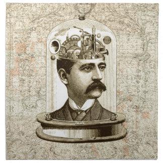 Cerebro del mecanismo del steampunk del vintage, servilletas