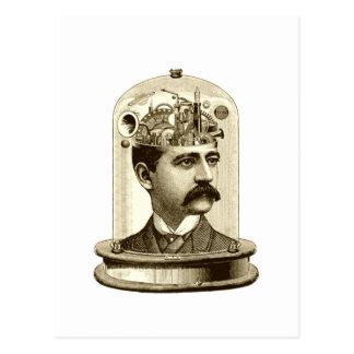 Cerebro del mecanismo del steampunk del vintage, postales