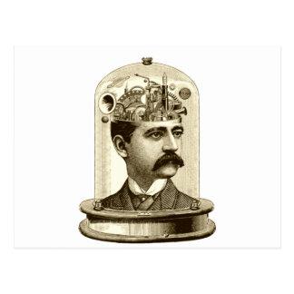 Cerebro del mecanismo del steampunk del vintage, tarjetas postales