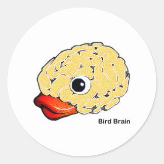 Cerebro del pájaro pegatina redonda