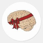 Cerebro del regalo de Navidad Etiquetas Redondas