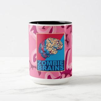 Cerebro del zombi taza de café de dos colores