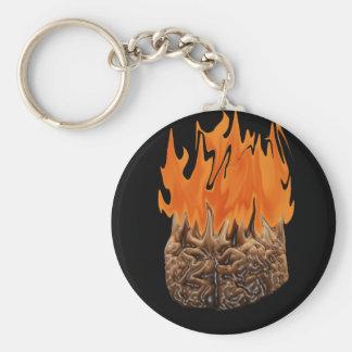 cerebro en el fuego llavero redondo tipo pin