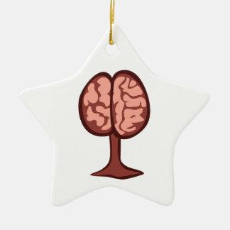 Cerebro en soporte adorno de cerámica en forma de estrella