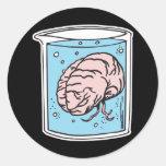 cerebro en un tarro etiquetas redondas