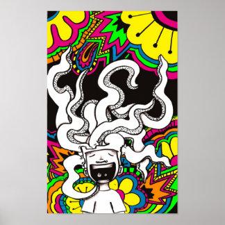 Cerebro feliz psicodélico posters
