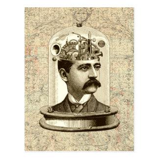 Cerebro fresco del mecanismo de Steampunk, cabeza Tarjetas Postales