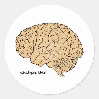 Cerebro humano: ¡Analice esto! Pegatina Redonda