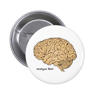 Cerebro humano: ¡Analice esto! Pin Redondo De 2 Pulgadas