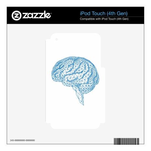 cerebro humano azul con el modelo geométrico de la iPod touch 4G calcomanía