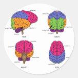 Cerebro humano de todos los lados etiqueta redonda
