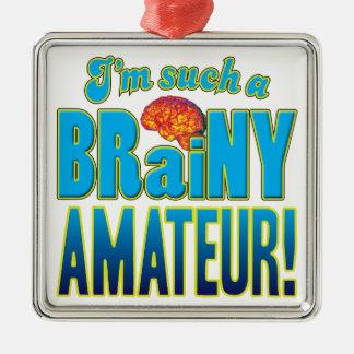 Cerebro inteligente aficionado adorno cuadrado plateado