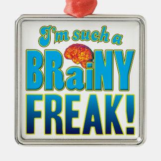 Cerebro inteligente anormal adorno cuadrado plateado