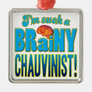 Cerebro inteligente chauvinista adorno cuadrado plateado