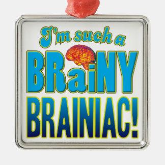 Cerebro inteligente de Brainiac Adorno Cuadrado Plateado