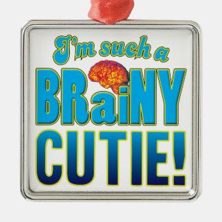Cerebro inteligente de Cutie Adorno Cuadrado Plateado