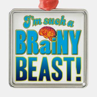 Cerebro inteligente de la bestia adorno cuadrado plateado
