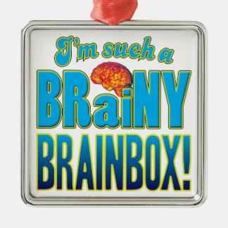 Cerebro inteligente de la caja del cerebro adorno cuadrado plateado