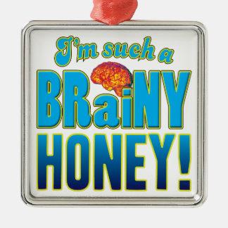 Cerebro inteligente de la miel adorno cuadrado plateado