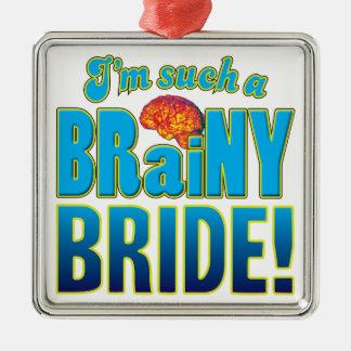 Cerebro inteligente de la novia adorno cuadrado plateado