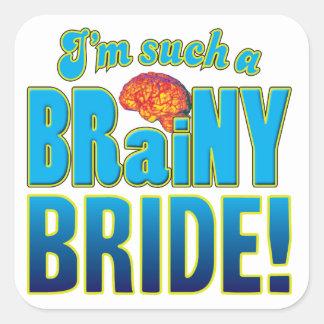Cerebro inteligente de la novia pegatina cuadrada