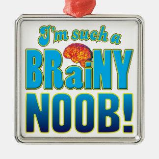 Cerebro inteligente de Noob Adorno Cuadrado Plateado