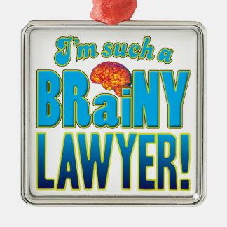Cerebro inteligente del abogado adorno cuadrado plateado