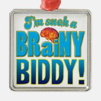 Cerebro inteligente del Biddy Adorno Cuadrado Plateado