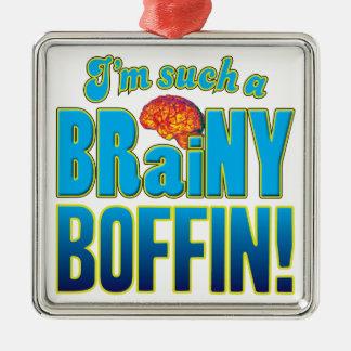 Cerebro inteligente del Boffin Adorno Cuadrado Plateado