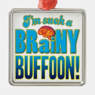Cerebro inteligente del bufón adorno cuadrado plateado