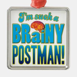 Cerebro inteligente del cartero adorno cuadrado plateado