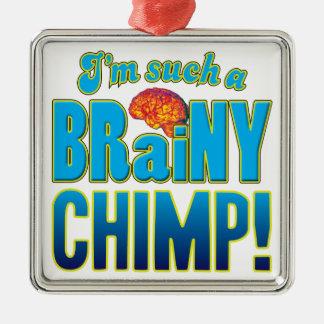 Cerebro inteligente del chimpancé adorno cuadrado plateado